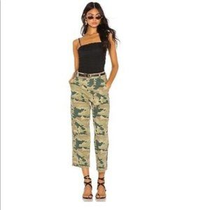 Free People Size 24 Remy Camo Print Pant High Rise Wide Leg Cargo Pockets